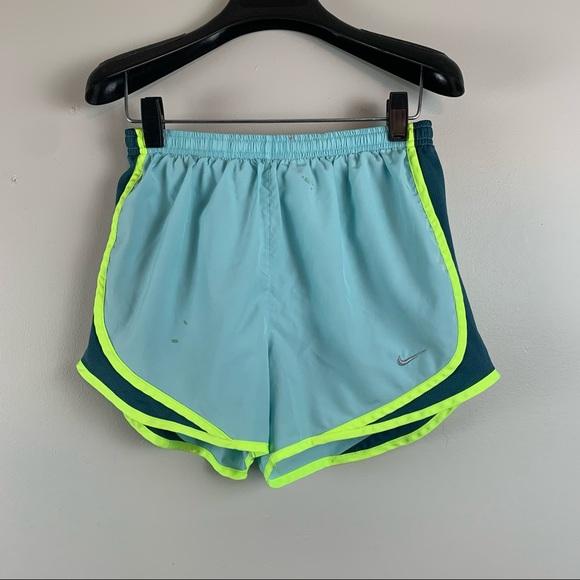 Nike Light Blue & Neon Yellow Nike Running Shorts
